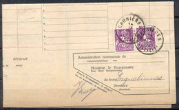 SOLDES - 1933 - COB N° 338 (x2) Sur DOCUMENT OFFICIEL - AVIS DE CHANGEMENT DE RESIDENCE - 1932 Cérès Et Mercure