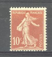 0ob  0515  -  France  :  Yv  134e  *   Type II Rouge Clair - 1906-38 Semeuse Camée