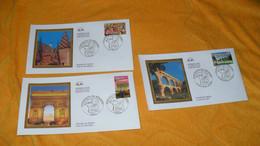 LOT 3 ENVELOPPES FDC DE 2003../ PORTRAITS DE REGIONS LE PONT DU GARD, L'ARC DE TRIOMPHE, TOITS DE BOURGOGNE..CACHETS + T - 2000-2009