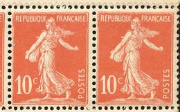 FRANKREICH 1906 Säerin Auf Sockelansatz Glatter Grund Postf. Zehnerblock ABARTEN - Varietà: 1900-20 Nuovi