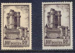 FRANKREICH 1938 10 Fr. Festungsturm Vincennes Schwarzbraun Postfrischer ABART!!! - Variétés: 1931-40 Neufs