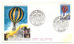 1971--FDC -- 100 Ans De La Poste Par Ballon Monté  ---cachet  Musée Postal  PARIS - 1970-1979