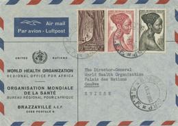 FRANZÖSISCH ÄQUATORIAL AFRIKA 1953 Buntfrankatur Kab.-Vordruck-Lupo Der WHO UNO - Briefe U. Dokumente