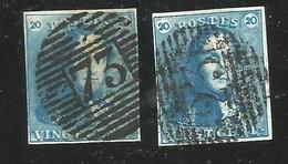 Belgique : 2 X N° 2 Oblitérés - 1849 Epaulettes
