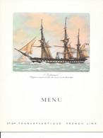 Menu Petit Déjeuner, Breakfast Du Paquebot France - Cie Gle Transatlantique, French Line - Illustration: L'Audacieuse - Menus