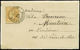 Lettre L'ARMAND BARBES, Carte Affranchie à 10c, Càd Paris R D'Enghien 30 Sept 70 Pour Montoire (L Et Ch), T.B. - Non Classificati