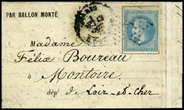 Lettre LE GODEFROY Cavaignac (probable) Càd Paris R D'Enghien 13 Oct 70, Pour Montoire (L Et Ch), Arrivée 15 Oct 70, T.B - Non Classificati