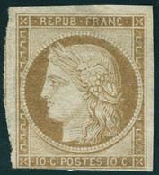 Neuf Sans Gomme N° 1, 10c Bistre Jaune, Au Filet, Marge Inférieure Sinon T.B. Signé JF Brun - Non Classificati