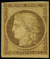 Neuf Avec Charnière N° 1a, 10c Bistre-brun, TB, Signé + Cert. Brun - Non Classificati