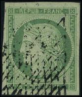 Oblitéré N° 2, 15c Vert, Obl Grille Sans Fin, T.B. Signé A Brun Et Calves - Non Classificati