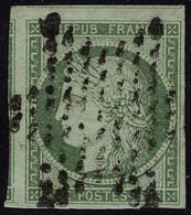 Oblitéré N° 2b, 15c Vert Foncé, Belles Marges Dont 2 Voisins, T.B. Signé Roumet - Non Classificati