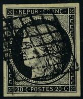 Oblitéré N° 3, 3a Les 20c Noir Sur Jaune Et Noir Sur Blanc, T.B. - Non Classificati