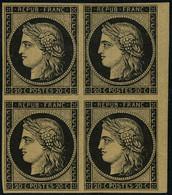 Neuf Sans Charnière N° 3F, 20c Noir S/jaune, Bloc De 4 Réimpression Bdf, TB (2 Ex. Cl), Signé Calves - Non Classificati