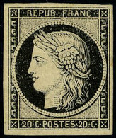 Neuf Avec Charnière N° 3a, 20c Noir S/blanc, TB, Signé Brun - Non Classificati