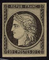 Neuf Avec Charnière N° 3f, 20c Noir Réimpression T.B. - Non Classificati