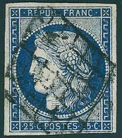 Oblitéré N° 4 + 4a, 25c Bleu Et Bleu Foncé, T.B. - Non Classificati