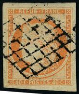 Oblitéré N° 5, 40c Orange Pale, énormes Marges, Superbe , Signé Calves, Maury 5a - Non Classificati