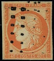 Oblitéré N° 5, 40c Orange, Obl Roulette De Gros Points Légère, TB, Signé Calves - Non Classificati