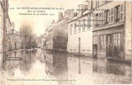 77 - LA FERTÉ-SOUS-JOUARRE - Rue De Condetz - Inondations Du 25 Janvier 1910 - (Brindelet, N° 1079) - Pub AMAURY, Meaux - La Ferte Sous Jouarre