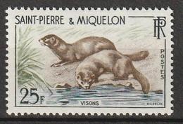 ST PIERRE Et MIQUELON - N°361 ** (1959) Visons - Unused Stamps