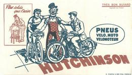 HUTCHINSON - PNEUS VELO - VELOMOTEUR - MOTO - BUVARD ANCIEN ILLUSTRE (12 X 21 Cm). - Bikes & Mopeds