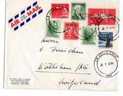 1964 USA TO Switzerlan COVER WITH  EARHART AMELIA Christmas 1963 Wahington Boys Town Nebraska - Cartas