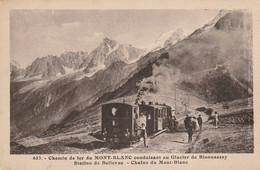 IN 24 -(74)CHEMIN DE FER DU MONT BLANC ALLANT AU GLACIER DE BIONNASSAY - STATION DE BELLEVUE- MECANICIEN , VOYAGEURS - Andere Gemeenten