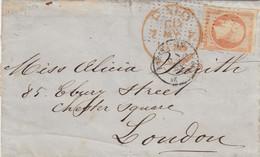 LETTRE. 5 MAI 1855. N° 13. PARIS ROULETTE PETITS  POINTS. POUR LONDRES. PAID LONDON  7 MAY - 1849-1876: Periodo Clásico