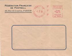1961 Enveloppe Entête Fédération Française Football / EMA F F F Paris - Affrancature Meccaniche Rosse (EMA)