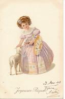 CPA Illustrateur Joyeuses Pâques Fillette Et Mouton M.M. MM VIENNE Nr . N°650 MUNK Viennoise - Vienne