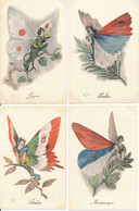 Série Complète De 8 CPA Illustrateur Surréalisme Art Nouveau Femmes Papillons Drapeaux Alliés WW1 Guerre 14-18 - Andere Zeichner