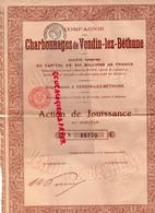 62- VENDIN LEZ BETHUNE- ACTION CHARBONNAGES CHARBON DE JOUISSANCE AU PORTEUR -MINES- ME GAILLY NOTAIRE- 1917 - Mineral