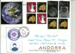 First Moon Landing (Cinquantenary) Letter Sent To Andorra During Lockdown Covid-19, W/local Prevention Sticker Virus - Cartas