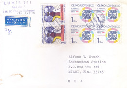 CZECHOSLOVAKIA : COMMERCIAL COVER SENT TO UNITED STATES OF AMERICA : YEAR  1962 : USE OF 6v POSTAGE STAMPS - Cartas