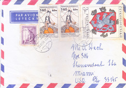 CZECHOSLOVAKIA : COMMERCIAL COVER SENT TO UNITED STATES OF AMERICA : YEAR  1974 : USE OF CHARLIE CHAPLIN STAMP - Cartas