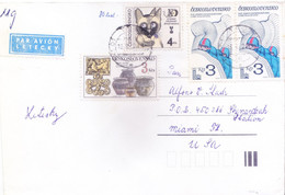 CZECHOSLOVAKIA : COMMERCIAL COVER SENT TO UNITED STATES OF AMERICA : USE OF 4v POSTAGE STAMPS - Cartas