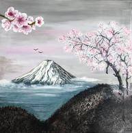 """Toile 50 X 50 Cm Représentant Une Scène Japonaise, """"Les Cerisiers"""", En Acrylique, Signée Valie. Signée. Originale - Acrilicos"""