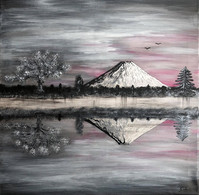 """Toile 60 X 60 Cm Représentant Une Scène Japonaise, """"Le Cerisier Du Mont Fuji"""", En Acrylique. Signée. Originale - Acrilicos"""