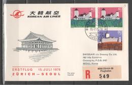 Svizzera 1976 - Primo Volo Korean Air Lines Zurigo-Seoul           (g7331) - Erst- U. Sonderflugbriefe