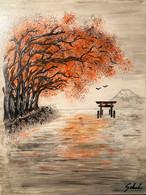 """Toile Peinture Acrylique Scène Japonaise """"les Arbres Rouges"""". Tori Japon. Signée - Acrilicos"""