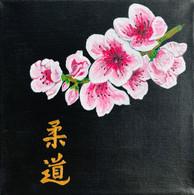 """Toile Peinture Acrylique Scène Japonaise """" Judo Branche De Cerisier"""". Japon. Signée - Acrilicos"""