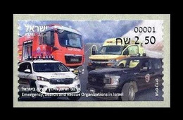 Israel 2021 Mih. A152 Automobiles Of Emergency Search And Rescue Organizations. Firefigters. Police. Ambulance MNH ** - Viñetas De Franqueo (Frama)