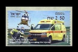 Israel 2021 Mih. A153 Emergency Service Transport. Helicopter. Automobile. Motorcycle MNH ** - Viñetas De Franqueo (Frama)