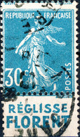 """FRANCE 1925/6 - Pub """" RÉGLISSE FLORENT """" (inférieure) Sur Yv.192b 30c T.IIB - Obl. - Publicidad"""