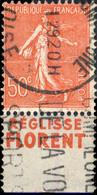"""FRANCE 1928/30 - Pub """" RÉGLISSE FLORENT """" (inférieure) Sur Yv.199e 50c T.IIB - Obl. - Publicidad"""