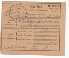 ARDECHE RECEPISSE 1920 ARRAS AGENCE POSTALE  390 HABITANTS EN 1921 - 1877-1920: Semi Modern Period