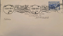O) 1940 SOUTH AFRICA, GROOTE SCHUUR, SEND GOOD TELEGRAM,  TO USA - Autres