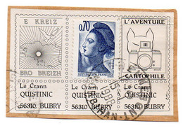 Vignette PORTE-TIMBRE : BRO BREIZH, Le Crann QUISTINIC 56310 BUBRY, L'Aventure Cartophile (càd 1988). - Non Classés