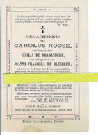 Carolus Roose Wed C De Brabandere Echt J De Bleecker O Oedelem 1798 + Moerkerke 1861 - Images Religieuses