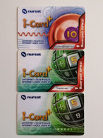 KAZAKHSTAN..LOT OF 3 PHONECARDS..I-CARD....INTERNET+VOICE OVER IP...NURSAT - Telecom Operators